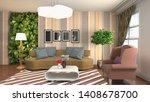 interior of the living room. 3d ...   Shutterstock . vector #1408678700