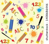 seamless colored back to school ... | Shutterstock .eps vector #1408686446