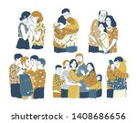 collection of adorable smiling... | Shutterstock .eps vector #1408686656