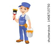 professional painter holding... | Shutterstock .eps vector #1408715750