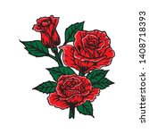 beauty red roses vector... | Shutterstock .eps vector #1408718393