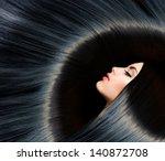 hair. healthy long black hair....   Shutterstock . vector #140872708