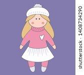 vector doll. toy  handmade ... | Shutterstock .eps vector #1408734290