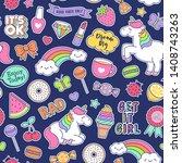 cute unicorns   girl's elements ... | Shutterstock .eps vector #1408743263