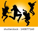 vector silhouettes af happy... | Shutterstock . vector #140877160