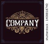 vintage logo with floral... | Shutterstock .eps vector #1408818740