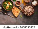 indian food. palak paneer or... | Shutterstock . vector #1408853339