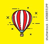 striped red and white hot air...   Shutterstock .eps vector #1408855199