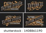 set of 4 tattoo logos with... | Shutterstock .eps vector #1408861190