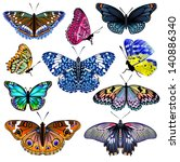 Stock vector set of colorful realistic isolated butterflies vector illustration 140886340