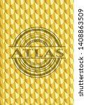atlas gold badge. scales...   Shutterstock .eps vector #1408863509