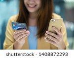 closeup asian woman using...   Shutterstock . vector #1408872293