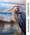 Great Blue Heron Oil Painting ...