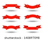 six decorative red ribbons on a ... | Shutterstock . vector #140897098
