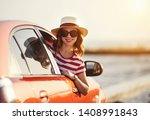happy woman girl goes to summer ... | Shutterstock . vector #1408991843