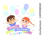 happy boy and girl with... | Shutterstock .eps vector #1409008040