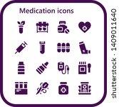 medication icon set. 16 filled... | Shutterstock .eps vector #1409011640