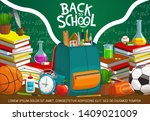 back to school on green... | Shutterstock .eps vector #1409021009