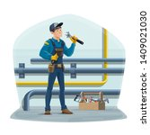 plumber and water pipes ...   Shutterstock .eps vector #1409021030
