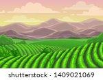 tea plantation fields  cascade... | Shutterstock .eps vector #1409021069