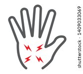 hand pain line icon  body and... | Shutterstock .eps vector #1409033069