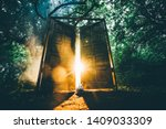 Stock photo the fairytale door with back light in the mystic forest white rabbit sit between the door 1409033309