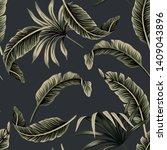 tropical floral foliage dark... | Shutterstock .eps vector #1409043896