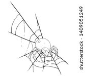 spider on  web icon. vector... | Shutterstock .eps vector #1409051249