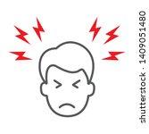 headache thin line icon  body... | Shutterstock .eps vector #1409051480