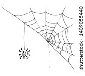 spider on  web icon. vector... | Shutterstock .eps vector #1409055440