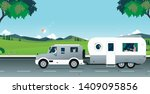 family caravan traveling with... | Shutterstock .eps vector #1409095856