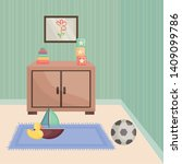 room home with drawer and toys... | Shutterstock .eps vector #1409099786