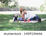 happy family sitting on the... | Shutterstock . vector #1409134646