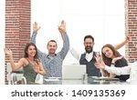 very happy business team... | Shutterstock . vector #1409135369