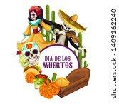 dia de los muertos skeletons in ...   Shutterstock .eps vector #1409162240