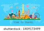 travel to world. road trip. big ... | Shutterstock .eps vector #1409173499