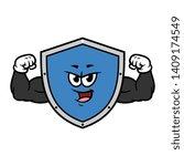 cartoon flexing muscular shield ...   Shutterstock .eps vector #1409174549