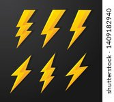 flash 3d icon yellow lightning...   Shutterstock .eps vector #1409182940