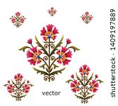 mughal flower motif bunch white ... | Shutterstock .eps vector #1409197889