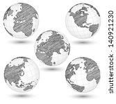 set of world map earth globe... | Shutterstock .eps vector #140921230