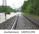 the flooded straight railway... | Shutterstock . vector #140921290