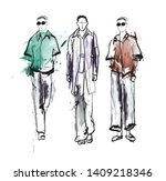 stylish handsome mans in... | Shutterstock .eps vector #1409218346