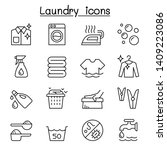 laundry icon set in thin line... | Shutterstock .eps vector #1409223086