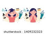 a happy young woman because her ... | Shutterstock .eps vector #1409232323