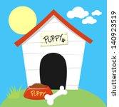 Cute Dog House With Dog Food...