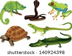 Reptiles And Amphibians Vector...