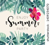 enjoy summer party calligraphy... | Shutterstock .eps vector #1409254070