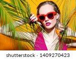 a portrait of a bright girl... | Shutterstock . vector #1409270423