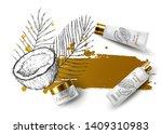 coconut cream product ads  tube ... | Shutterstock .eps vector #1409310983