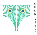 two stylized colored peacock... | Shutterstock .eps vector #1409312093